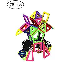Mcrine Magnetic Building Blocks, 76 PCS Mini Magnet Tiles Set Educational Stacking Toys for Kids Over 3 Years Old