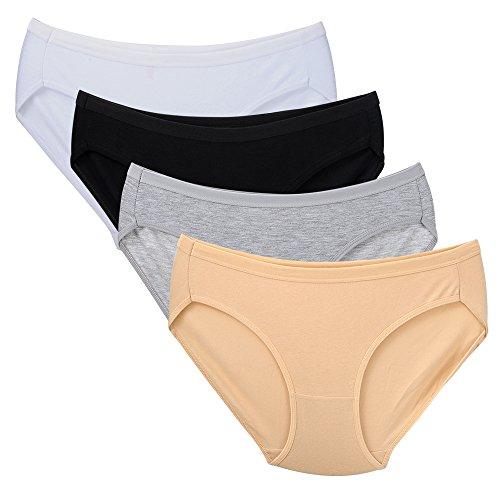 Closecret Damen Bequeme, elastische Bikini-Slips aus Baumwolle (4er-Pack) (M(Taille:71-73.5cm), Mehrfarbig) (Kurze Low-rise-hipster Bikini)