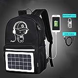 Solarbetriebene Rucksack USB Lade Männer Rucksack 5 Watt Anti-Diebstahl 15,6 '' Laptop Rucksack Für Männer Laptop Bagpack Bag (Schwarz)
