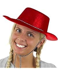 Paillettes rouge chapeau de cowboy. partie de poule, nuit de mâle fantaisie accessoire de robe