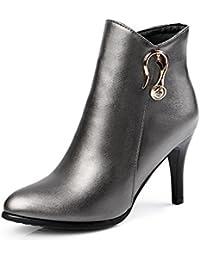 Odomolor Damen Stiletto Rein Reißverschluss Niedrig-Spitze PU Leder Stiefel, Grau, 38