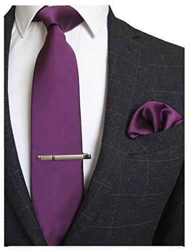 JEMYGINS Herren Hochzeit Krawatten und Einstecktuch krawattenklammer Set einfarbig in verschiedenen Farben, Lila, M