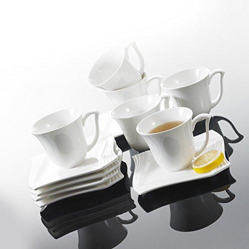 Malacasa, Serie Amparo, 36 tlg. Set Cremeweiß Porzellan Kaffeeservice Geschirrset Kuchenteller...