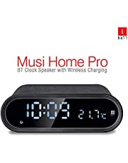 iBall Musi Home Pro Portable Digital Clock Bluetooth Speaker/Alarm/FM/Temperature Display with Wireless Charging (Black)