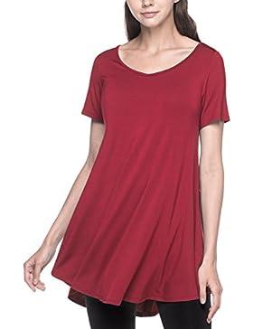 LAPASA Casual - Blusa para Mujer de Manga Corta. (Camiseta con Volantes) L20