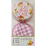 Meri Meri 45-0618 Cupcake Form, 48 Stück, 5,2 cm Bodendurchmesser, Papierförmchen, rosa-weiß-türkis mit Beschriftung (2 Designs: