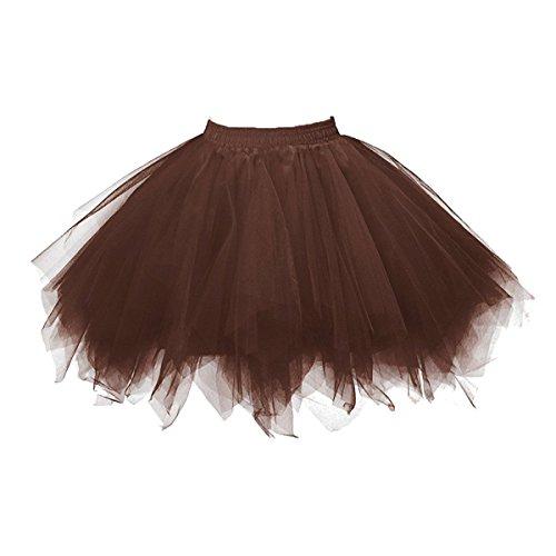 Honeystore Damen's Tutu Unterkleid Rock Abschlussball Abend Gelegenheit Zubehör Braun (Damen Tutu Rock)
