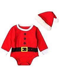 Weicici Lindo Papa Navidad Christmas Romper + Sombrero de Navidad (0-18Meses)