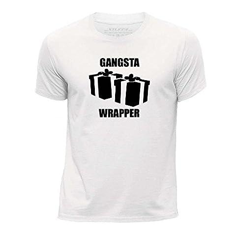 STUFF4 Garçons/3-4 ans (98-104cm)/Blanc/Col Rond T-Shirt/Noël / Gangsta Wrapper