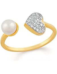 Mahi Gold Plated Profuse Love Adjustable Finger Ring With CZ And Artificial Pearl For Girls And Women FR1103002G