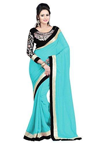Kjp Villa Women\'s Georgette blue Free Size embroidery Saree With Blouse Pics (zeel saree-140)