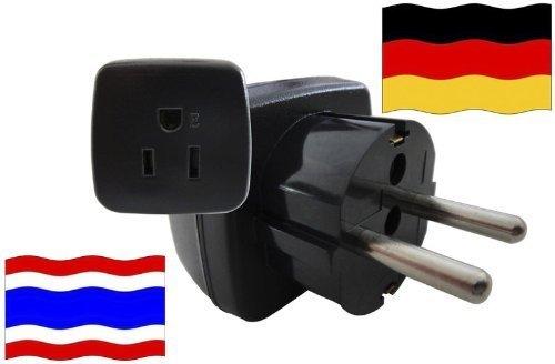Preisvergleich Produktbild Urlaubs Reiseadapter Deutschland für Geräte aus Thailand Kindersicherung und Schutkontakt 250 Volt