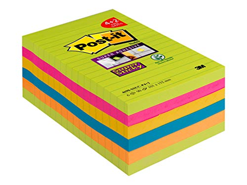 Post-it 4690-SSUC-P4+2 Super Sticky Notes Promotion, 101 x 152 mm neongrün/ultrapink/gelb/blau/neonorange