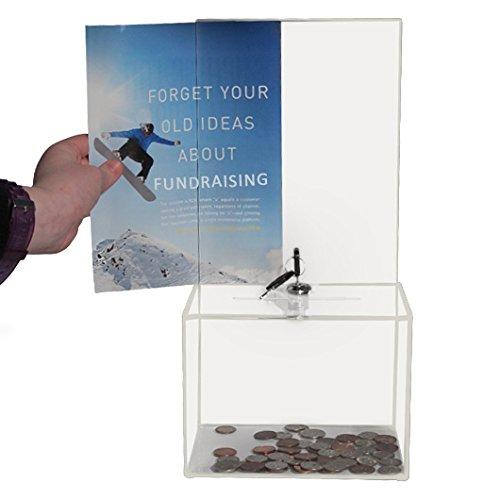 My Charity Boxes Cassetta per donazioni, utilizzabile anche come urna per voti e ballottaggi o scatola per biglietti, suggerimenti e commenti, con serratura, 2 chiavi e con ampia superficie dove esporre messaggi, in medium acrilico