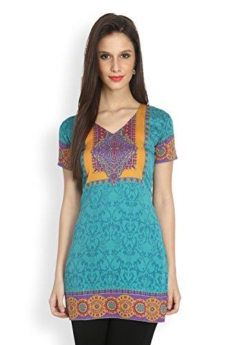 Eternal Women's Printed American Crepe Short Kurta Kurti Tunic Top(TDFA_104_RAMA_L, Turquoise)  available at amazon for Rs.399
