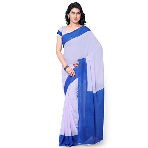 Janasya Women's Sky Blue & White Printed Georgette Saree (JNE1083-SKYBLUE-SR-COLPLN106)  available at amazon for Rs.399