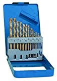 S&R Forets à métaux HSS Titane 1,5-6,5 mm, angle 135 °, Set de 13 pièces, DIN 338, coffret métal. Qualité Professionnelle