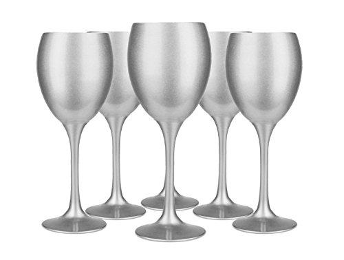 Weingläser Set 300ml im 6er-Pack Rotweingläser Weißweingläser Weinkelch Silber