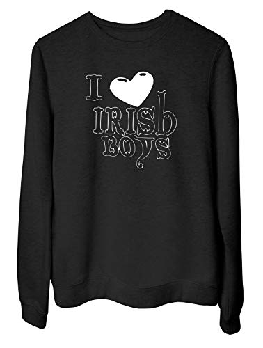 T-Shirtshock Rundhals-Sweatshirt fur Frau Schwarz OLDENG00849 Love Irish Boys Logo (Boys-t-shirts Irish Love)