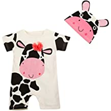 PAOLIAN Monos Ropa para bebé niños unisex Verano Monos + Gorro Impresion de vaca lechera Mameluco