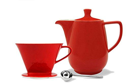 Friesland Melitta Kaffeefilter 1x4 1 Loch Porzellan rot + Kaffeekanne 0,9L rot + Kaffeemaßlöffel