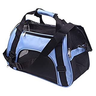 Pet Carrier Backpack Folding Bag Car Seat Portable Travel Cage Tote Case for Dog Puppy Cat Kitten Blue Small