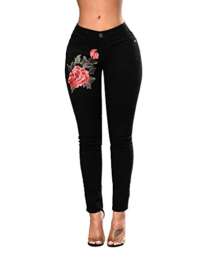 Anyu Mujer Pantalones Vaquero Skinny Push Up Pantalones Elástico Jeans Bordados Vaqueros Negro L
