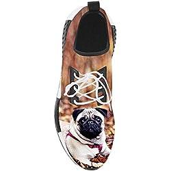 Zapatillas con diseño de carlino para mujer