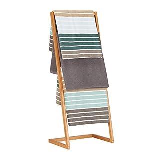 Relaxdays Porte-serviettes sur pied 4 bras salle de bain bambou échelle valet serviteur HxlxP: 100 x 40 x 30 cm, nature
