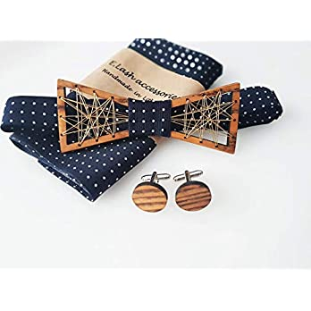 Holz-Metall Fliege mit Seide, Manschettenknöpfe aus Holz und Einstecktuch. Handarbeit
