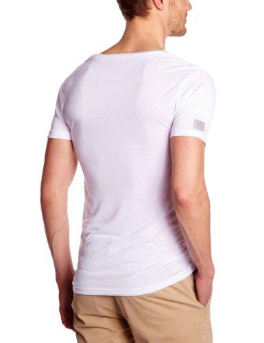 Eleven Paris Herren T-Shirt L2 BASIC LARGE NECK SS, Einfarbig Weiß (M99 Weiß)