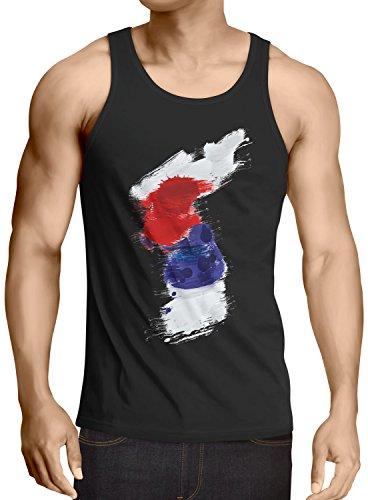 CottonCloud Flagge Korea Herren Tank Top Fußball Sport Hangug WM EM Fahne, Größe:S, Farbe:Schwarz -