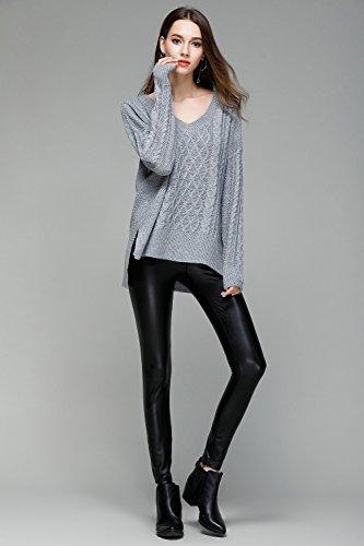 Femme col V à manches longues Pulls Pull irrégulière solide avec Slits Grey