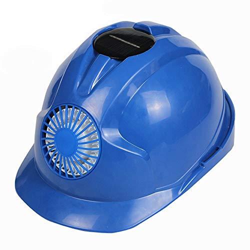 WYNZYSLBD Schutzhelm Mit Wiederaufladbarem Solarlüfter Für BAU, Heimwerker Und Personenschutz (Color : Blue)