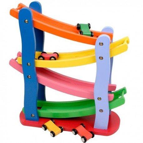 Circuit de 4 voitures Jouet en bois coloré Jouet d'eveil enfants 2 ans +