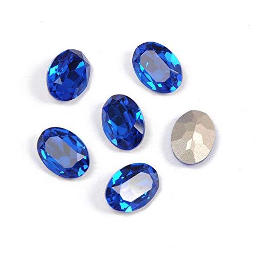 PENVEAT 4120 Oval Ornamente Strass Glas Edelsteine   DIY Nähen Kristalle Phantasie Steine   Pointback Genäht Strasssteine   Hell Für Kleidung, Capri Blau, 13x18mm 8St