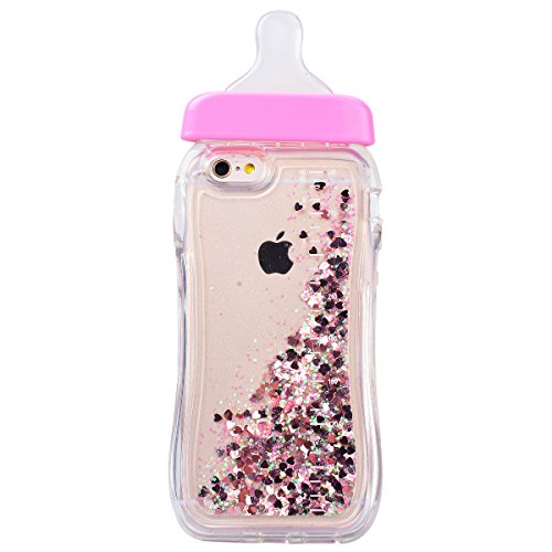 WE LOVE CASE iPhone 6 / 6S Coque, Étui Transparente de Protection en Premium Silicone Housse Souple Mince et Clair, Bumper Gel Bling Cas Briller Couverture Paillette Motif Diamante Brilliant Bébé Bout rose