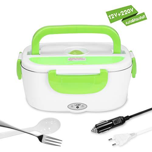 Yissvic Elektrische Lunchbox Speisenwärmer Edelstahl Warmhaltebox Tragbare Food Box für Haushalt und Auto(Verpackung MEHRWEG) -