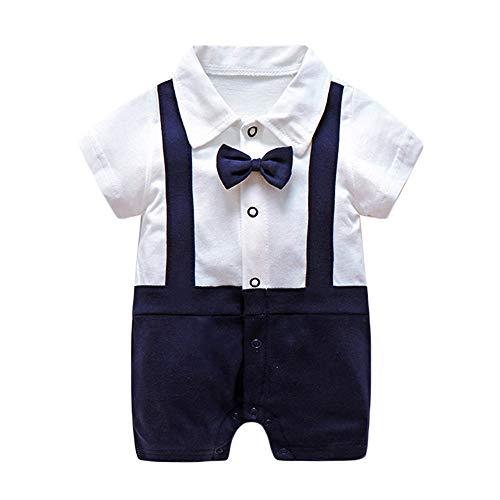 Neugeborenes Baby Jungen Gentleman Strampler Bodys Einteiler Formale Fliege Kragen Kurzarm Polo Anzug Kurz Overall Bodysuit 0-12M -