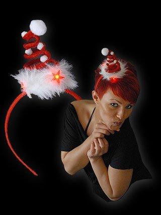 Blinkende Weihnachtsmütze Haarreif Mini mit Flöckchen Batterien inkl.