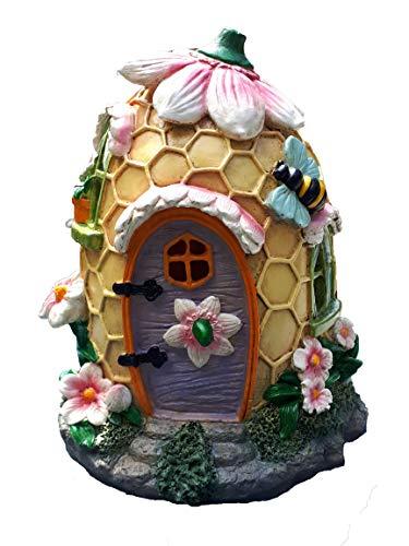 Mystic Garden Gartenhaus aus Kunstharz Bienenenholz-Design. Lichterkette für den Innen- und Außenbereich für Blumengärten, Pflanzgefäße, Fensterkästen, Terrarium oder Hof. -