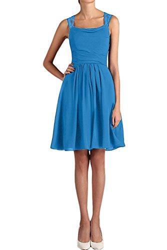 Ivydressing Damen einfach A-Linie kurz mini zwei Traeger Chiffon Spitze Applikation Cocktailkleid Heimkehrkleid Partykleid Blau