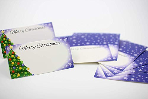 Table Place Cartes de Noël/Xmas dîner, au bureau ou fête de mariage {25–50 Pièces} Nom Settings|pearl Blanc, intérieur Side| Arbre Flocon de neige dîner de fête, 25