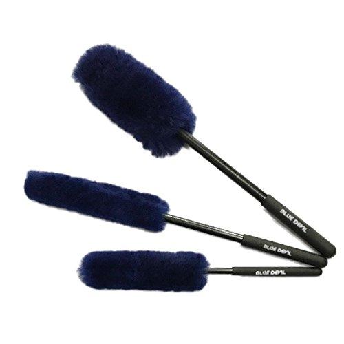 Blu devil premium woolies ruota spazzola kit (3dimensioni) 100% lambswool duster non contiene spazzole per cerchi auto in metallo con impugnatura in gomma per pulizia delle ruote