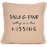 Valentines Day Present For Him Her | Personalised 'Sitting In A Tree Kissing' Throw Pillow | 18x18 Inch Cushion Pillow with Pad | Wedding Anniversary Gift