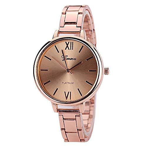 WZFCSAE Frauen Uhren Genf Quarzuhr Rose Gold Splitter Edelstahl Uhr Damen Kleid Uhren Relogios Feminino