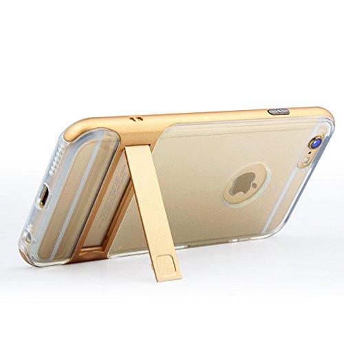 BCIT iPhone 6 Plus Custodia - ibrida Morbido resistente agli urti + Bumper Frame Dual Layer Case con Supporto di protezione per iPhone 6 Plus - Trasparente Rose Oro Trasparente & Oro