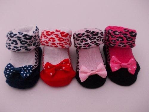 Soft Touch BNWT Baby Mädchen Leopard Print Knöchel Socken Pale Pink & Schwarz, Pink & Schwarz, Rot, Marineblau in 0-6Monate Gr. 0-3 Monate, Dark pink & black -