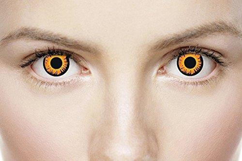 Fancy Me Damen Herren Orange vegan Vampir Halloween Horror unheimlich Augen TV Buch Film Vegan Vampir Contact Gläser Kostüm Zubehör