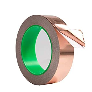 Copper Foil Tape with Conductive Adhesive Slug Repellent, EMI Shielding, Stained Glass, Paper Circuits, EMI Shielding Conductive Adhesive tape,Paper Circuits, Electrical Repairs, Crafts (1cm X 20M(Thickness 0.05mm))